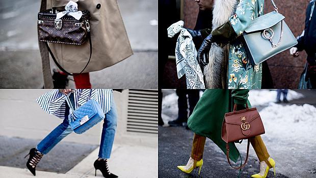 Разнообразие от чанти по улиците на Ню Йорк