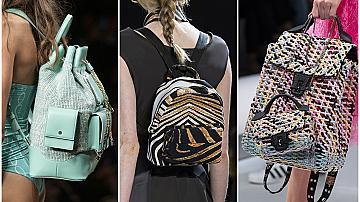 Заменяме дамската чанта с практична раница: 20 модела от подиума