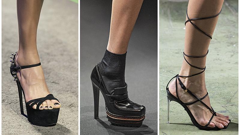 Обуваме черните вечерни обувки на висок ток: 20 ефектни модела от подиума