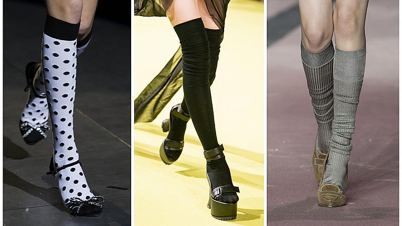 Как да съчетаем чорапите с обувките: 13 идеи от модния подиум
