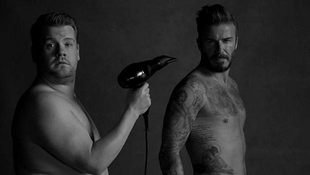 Дейвид Бекъм в пародийна реклама на бельо