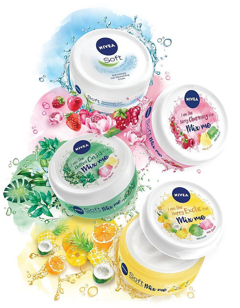 Започнете деня: като смесите не парфюми, а кремове. Става въпрос за трите нови попълнения към универсалните кремове от серията NIVEA Soft – Mix Me. Освен, че са с уникални свежи аромати, те могат да се смесват помежду си, за да създадете свое собствено ухание и да отпразнувате средата на седмицата върху кожата си.