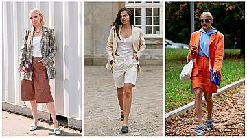 Къси панталони + сако: 16 street style идеи от модните столици