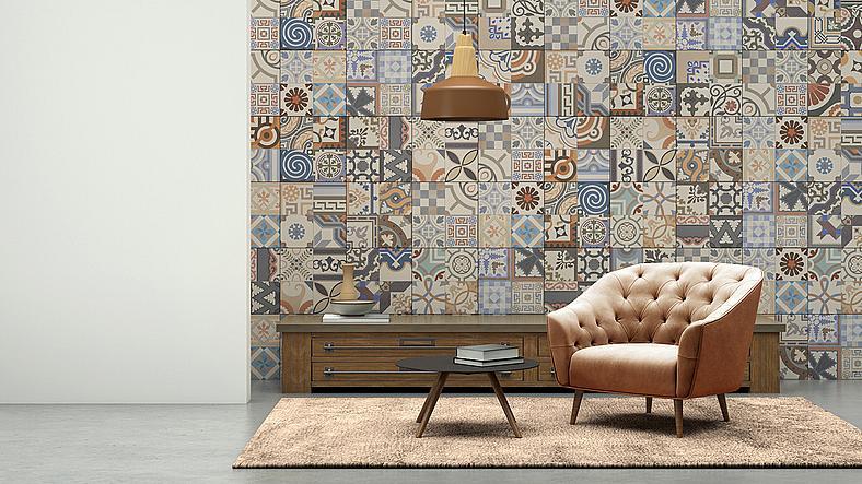 """Въпросът с какво да декорирате стените у дома затруднява много хора – колкото по-голям е изборът, толкова по-трудно е да се вземе решение латекс, тапети или текстилни панели да изберете? На нас ни харесва вариантът с пачуърк мозайката на стената, в която текстилните кръпки се комбинират с квадратни тапети. Смело и различно!"""" Pierre Frey"""