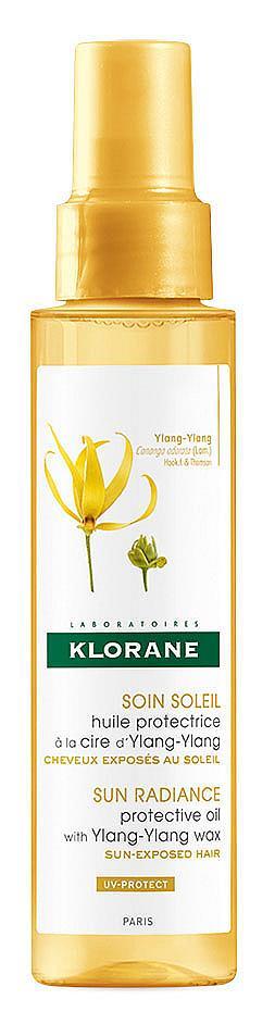 Водоустойчиво олио с UVA/UVB филтри, което осигурява интензивна защита от слънцето и загуба на цвета на косата на KLORANE