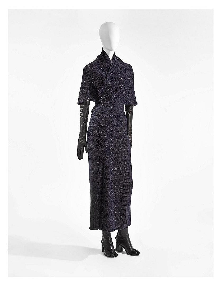 Maison Martin Margiela, A/W 1999-2000, knitted dress in wool and lurex, gloves and shoes in leather