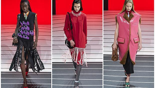 Подиумът на Prada ни изненада с 18 червени светещи врати