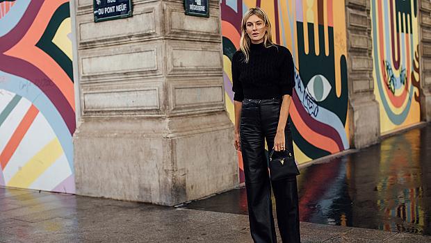 Кожен панталон + топ: 18 street style предизвикателства