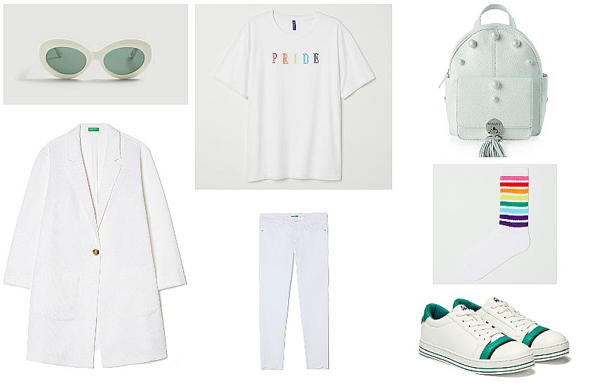 Очила MANGO, Сако Benetton, Тениска H&M, Панталон Benetton, Раница Marc Cain, Чорапи H&M, Кецове Benetton