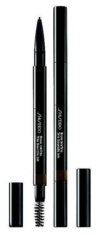 3 в 1 инструментът за вежди Brow Ink Trio на SHISEIDO, съдържа четка, молив и пудра